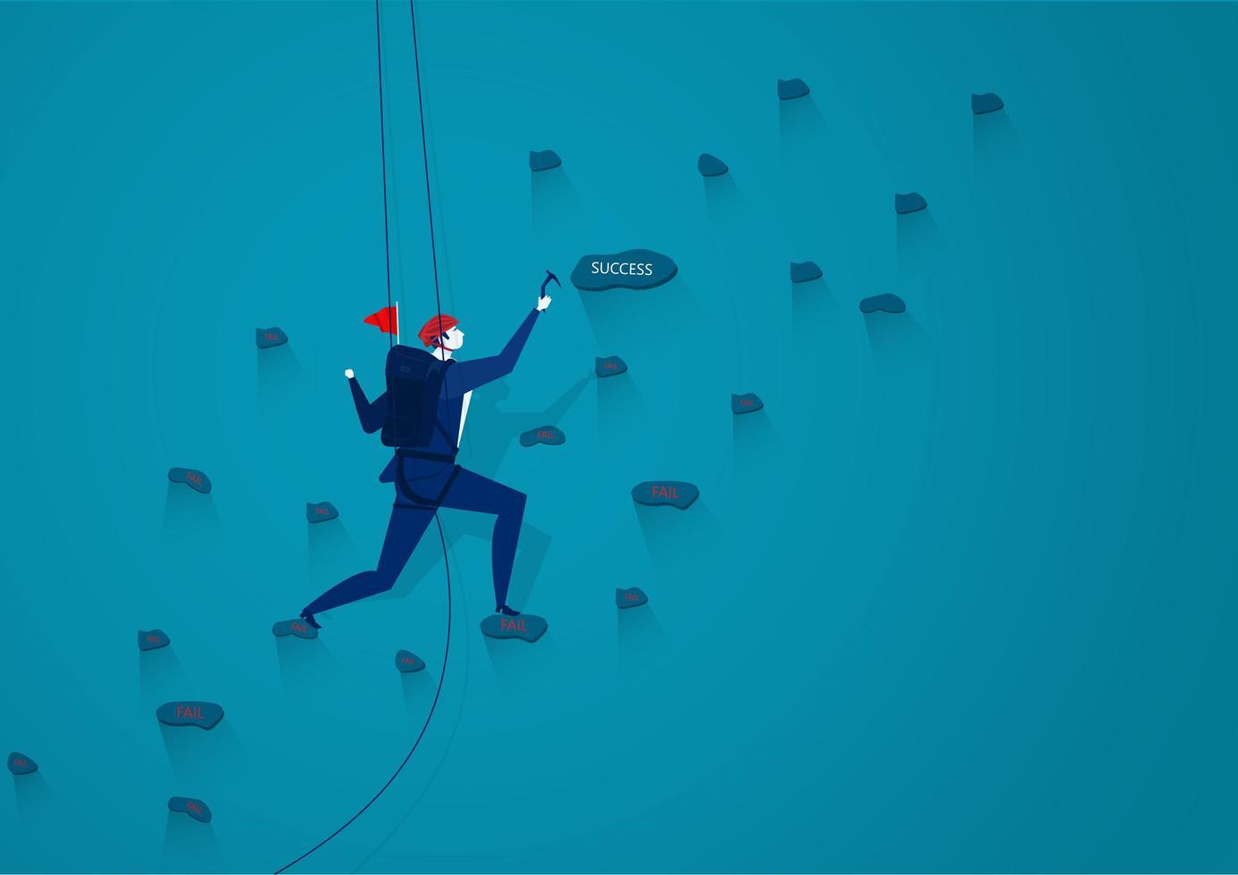 affärsman rock klättring till framgång vektor