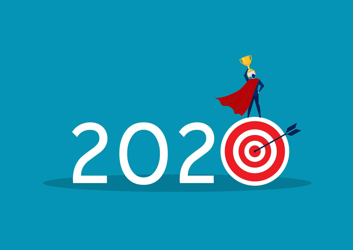 superhjälte affärsman står på 2020 mål vektor