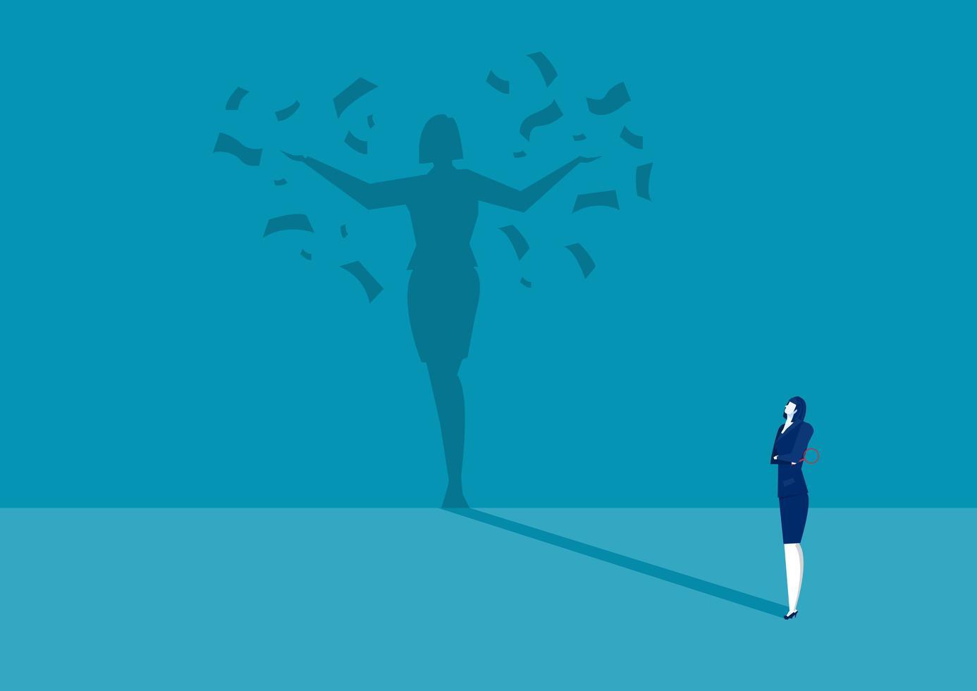 Geld Erfolg Schatten der Geschäftsfrau vektor