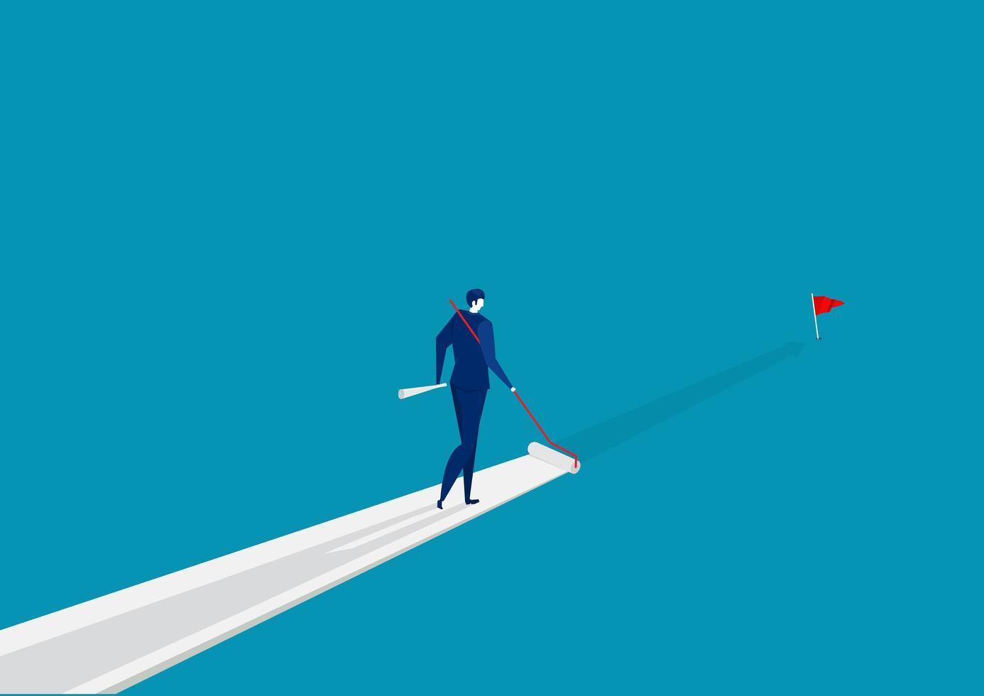 affärsman som målar sin väg till framgång vektor