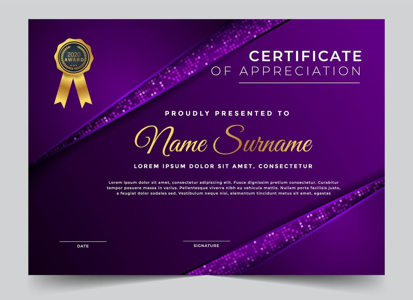 metallic lila certifikat för uppskattning design vektor