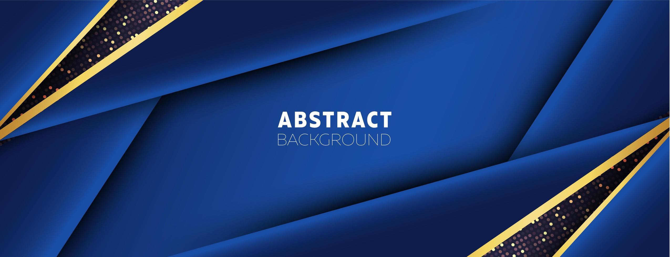 metalliska blå överlappande former och guldfärgningar vektor