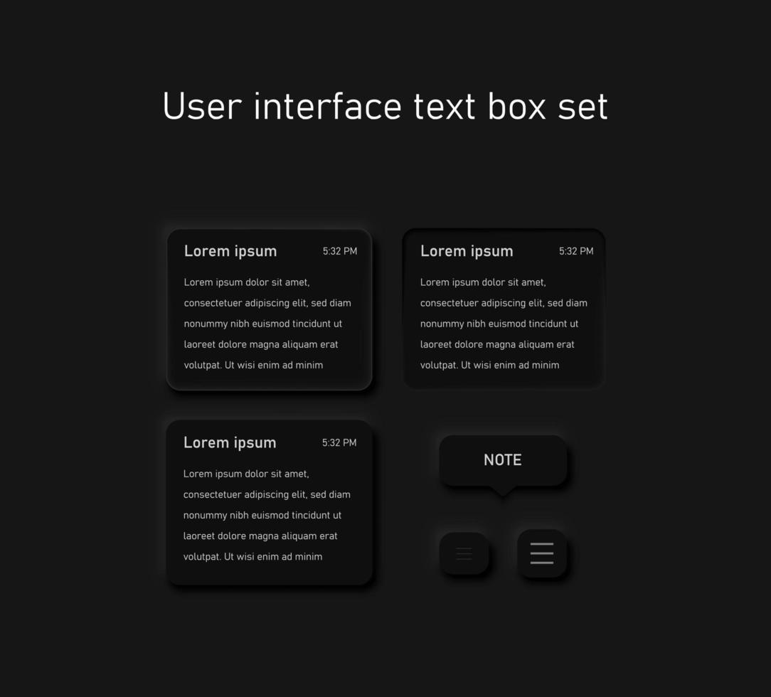 rundade textrutor för webbplatser och mobilappar vektor