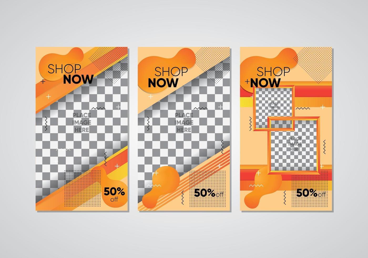 orange sociala medier butik nu inställd vektor