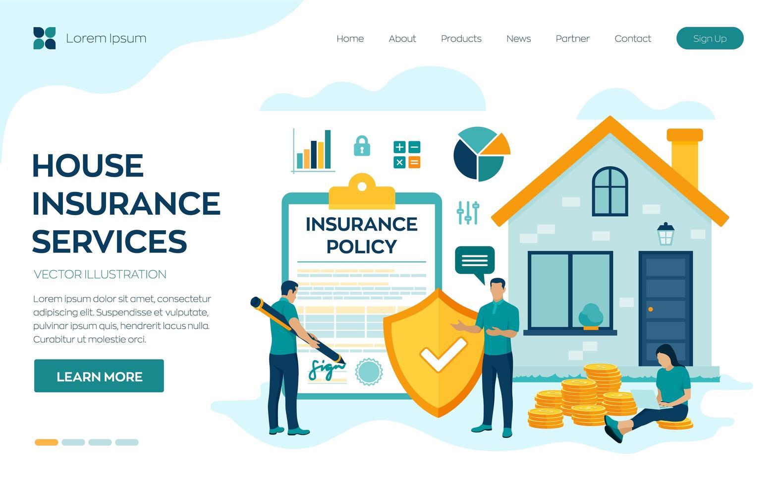Hausversicherung Landing Page vektor