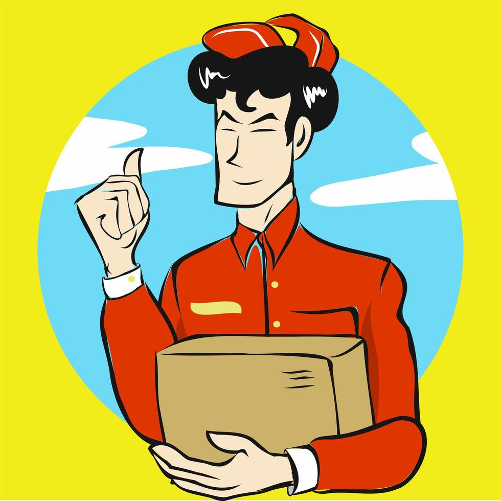 Lieferpersonal hält die Box vektor