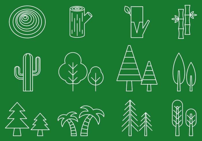 Träd linje ikoner vektor