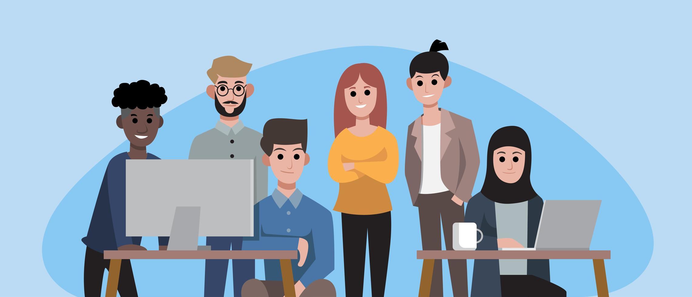 grupp leende kontorsarbetare eller affärsmän vektor