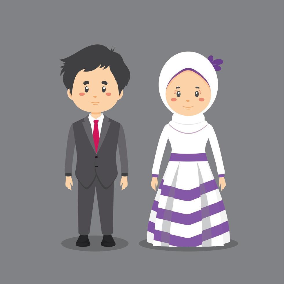 Paar Charaktere in Hochzeitsoutfits vektor