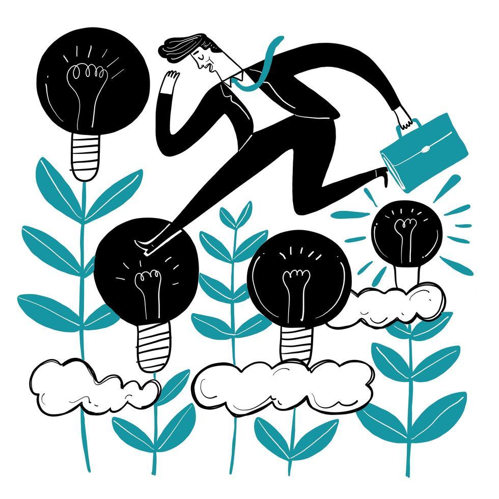 Geschäftsmann läuft über Lampenpflanzen vektor