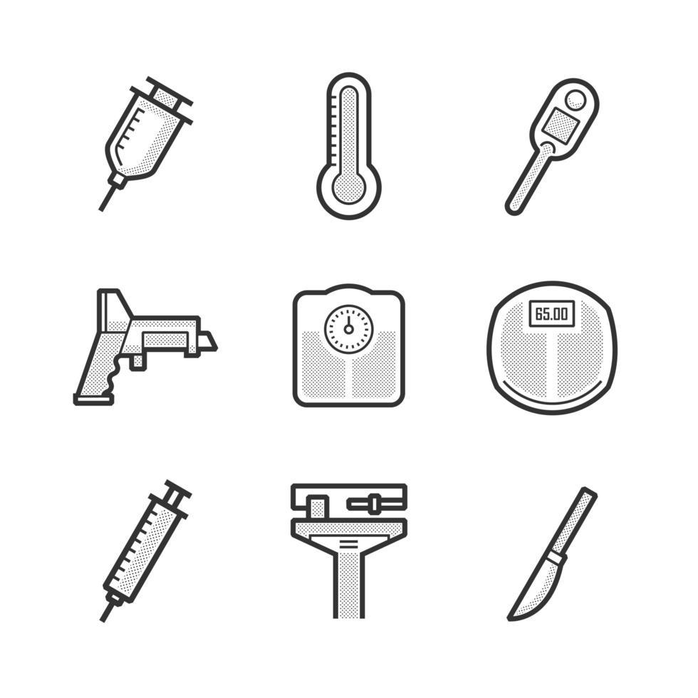 olika medicinska apparater ikoner set vektor
