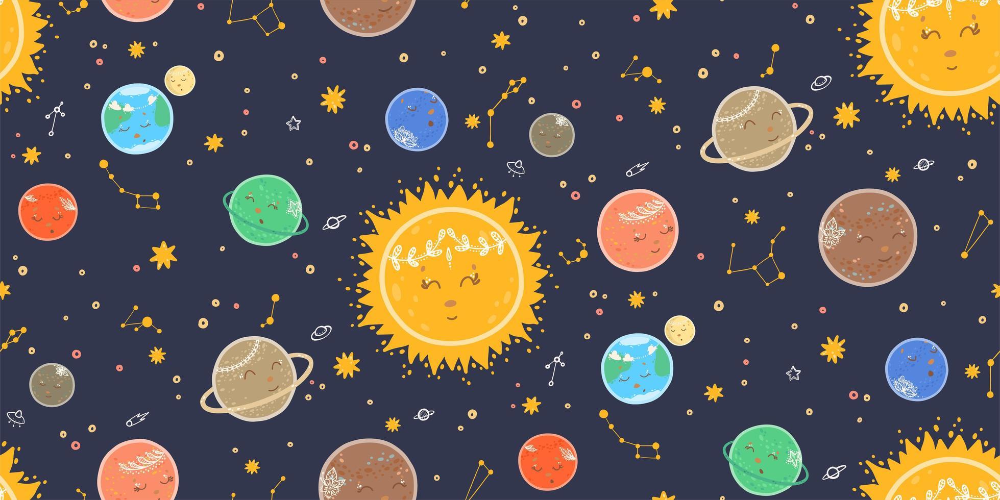 nahtloses Raummuster mit schlafenden Planeten vektor