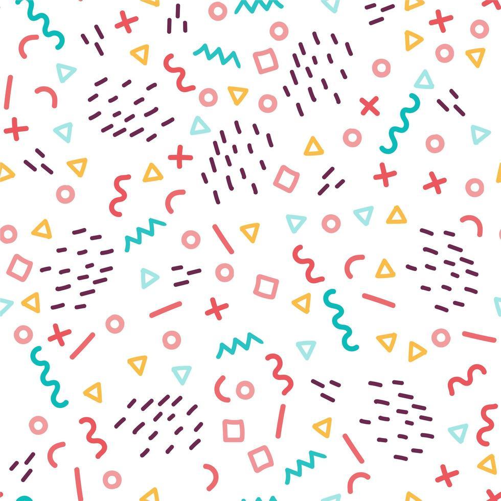 färgglada geometriska sömlösa mönster i memphis stil vektor