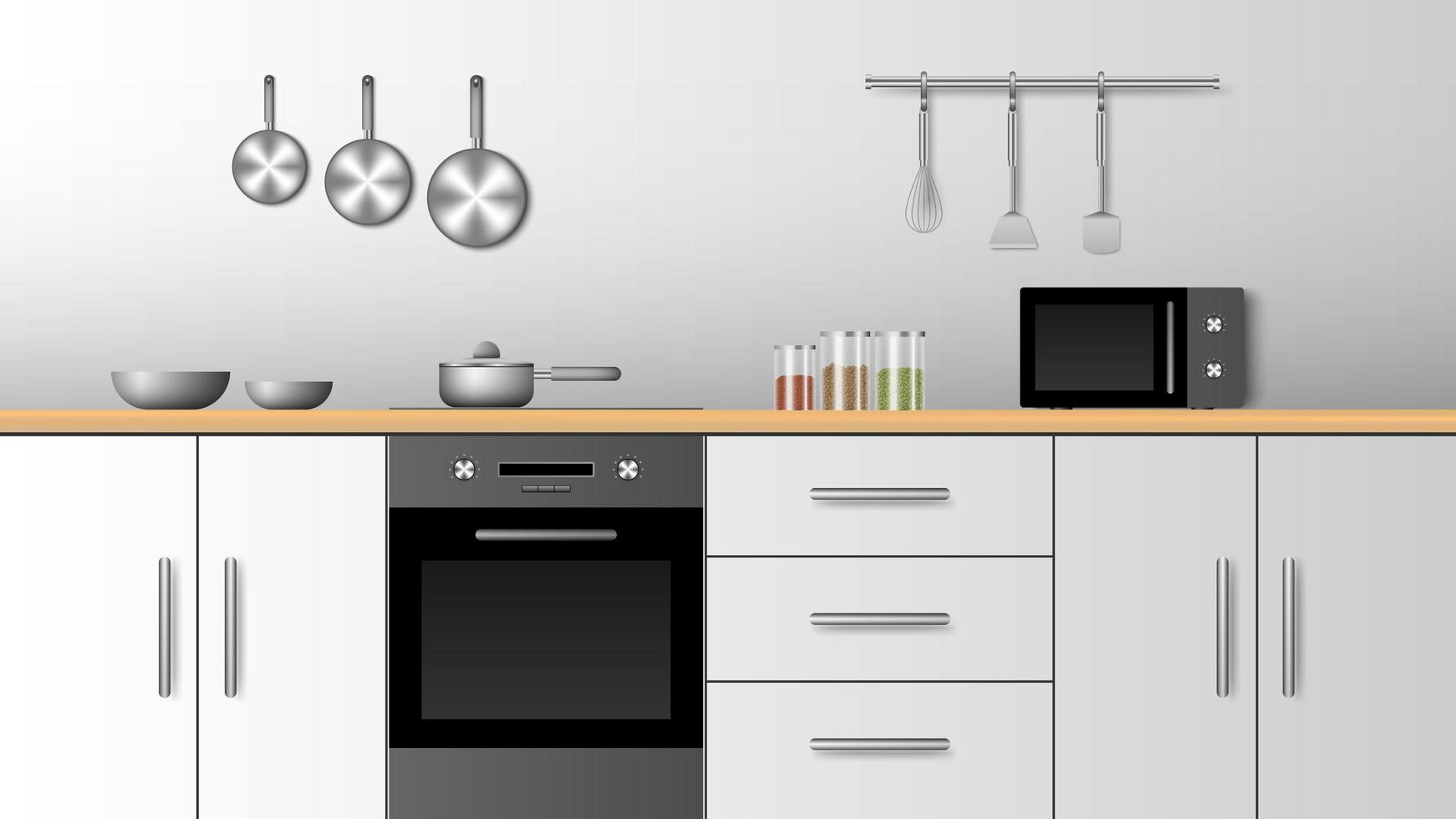 realistisk modern inredning av köket vektor
