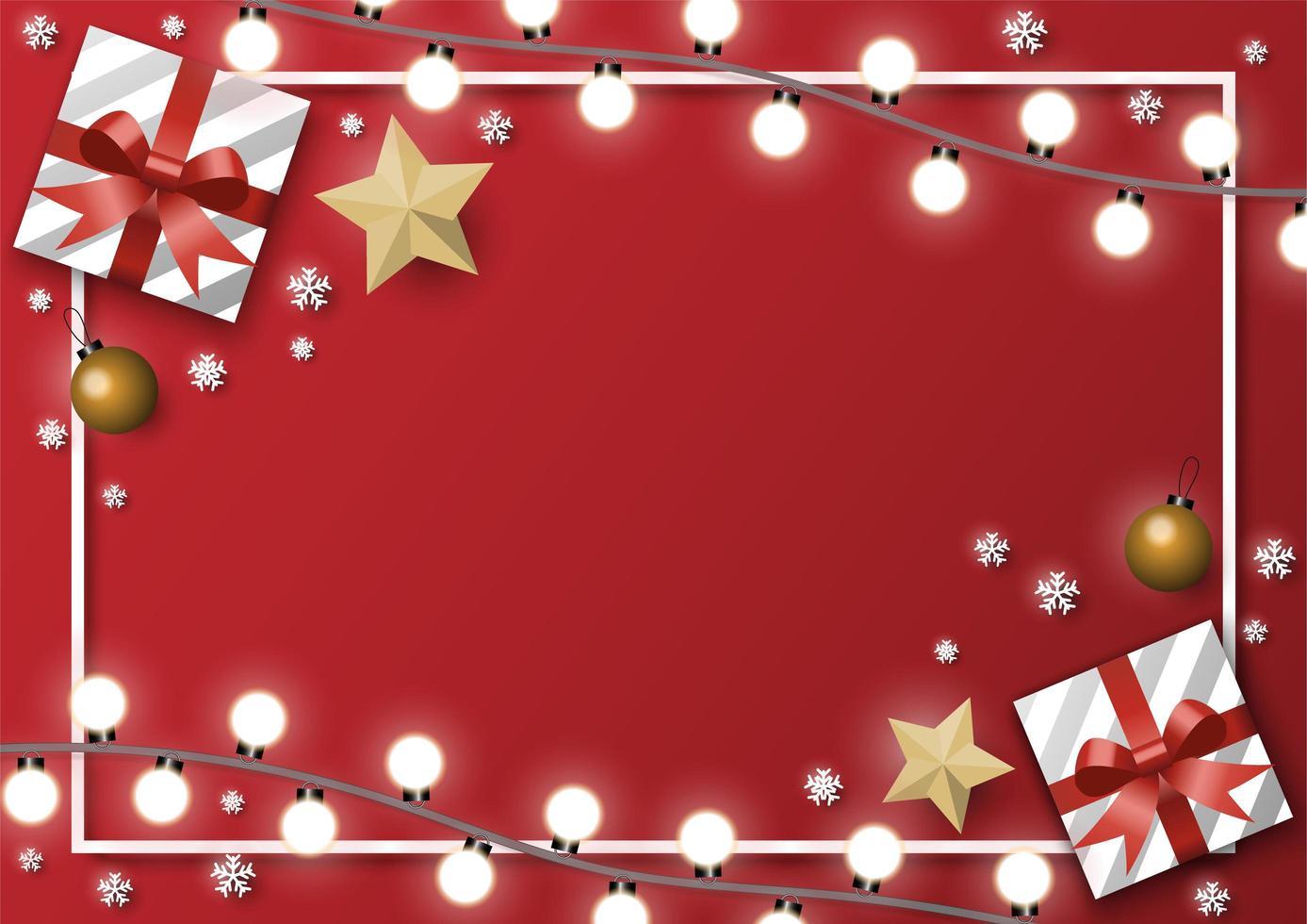 rektangel julkort med presenter och ljus vektor