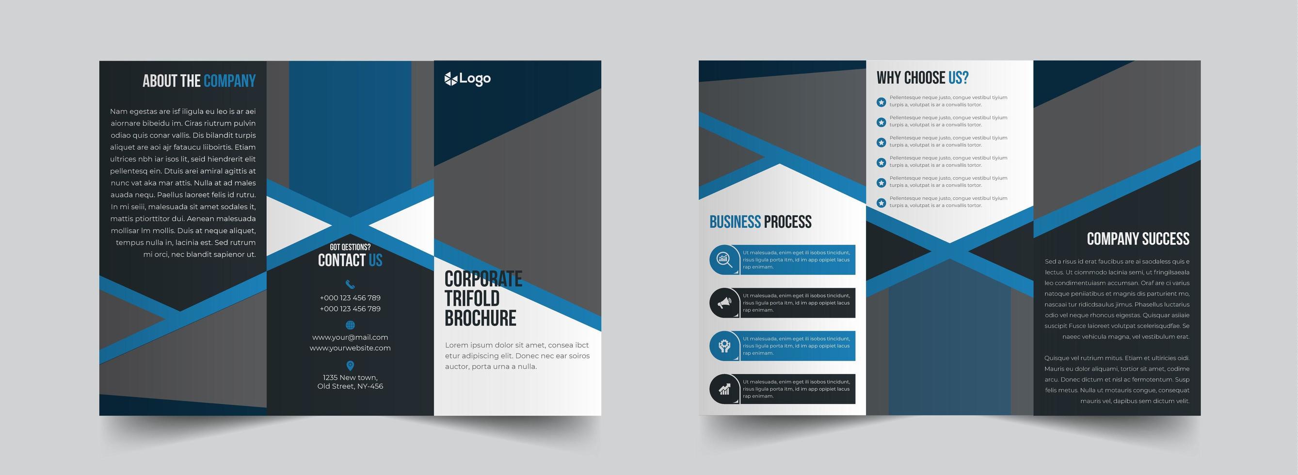 enkel blå och grå företags trebroschyr mall vektor