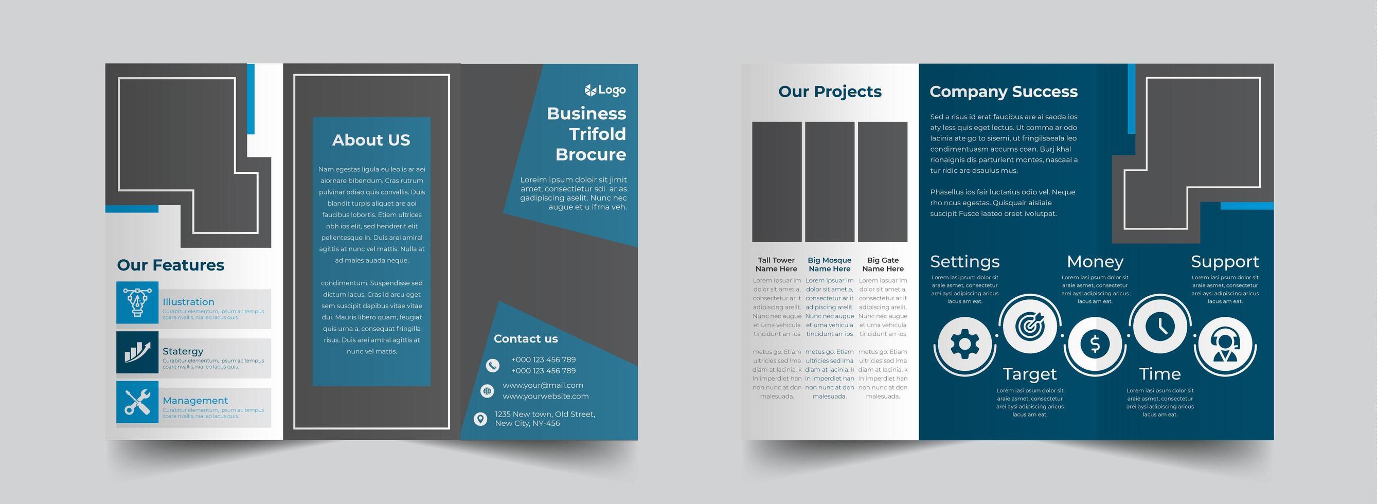 blaue Corporate Trifold Broschüre Design-Vorlage vektor