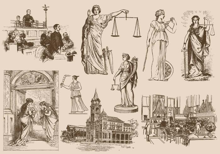 Recht und Gerechtigkeitszeichnungen vektor