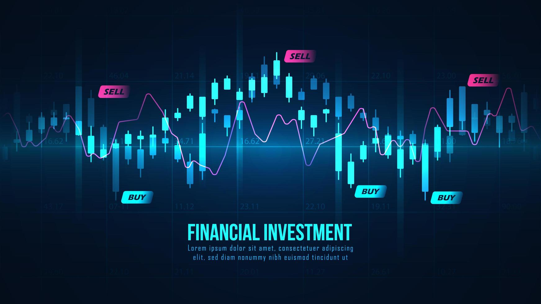 aktiemarknad Forex glödande graf vektor