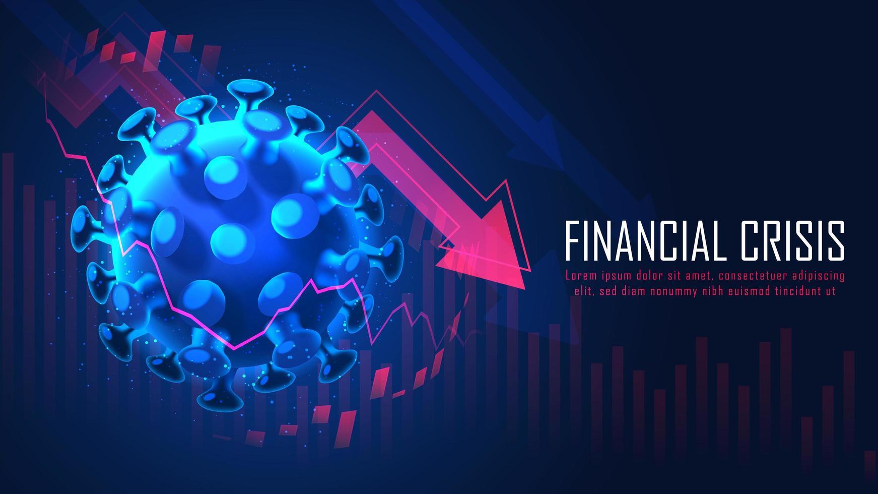 globale Finanzkrise durch Viruspandemie-Konzept vektor