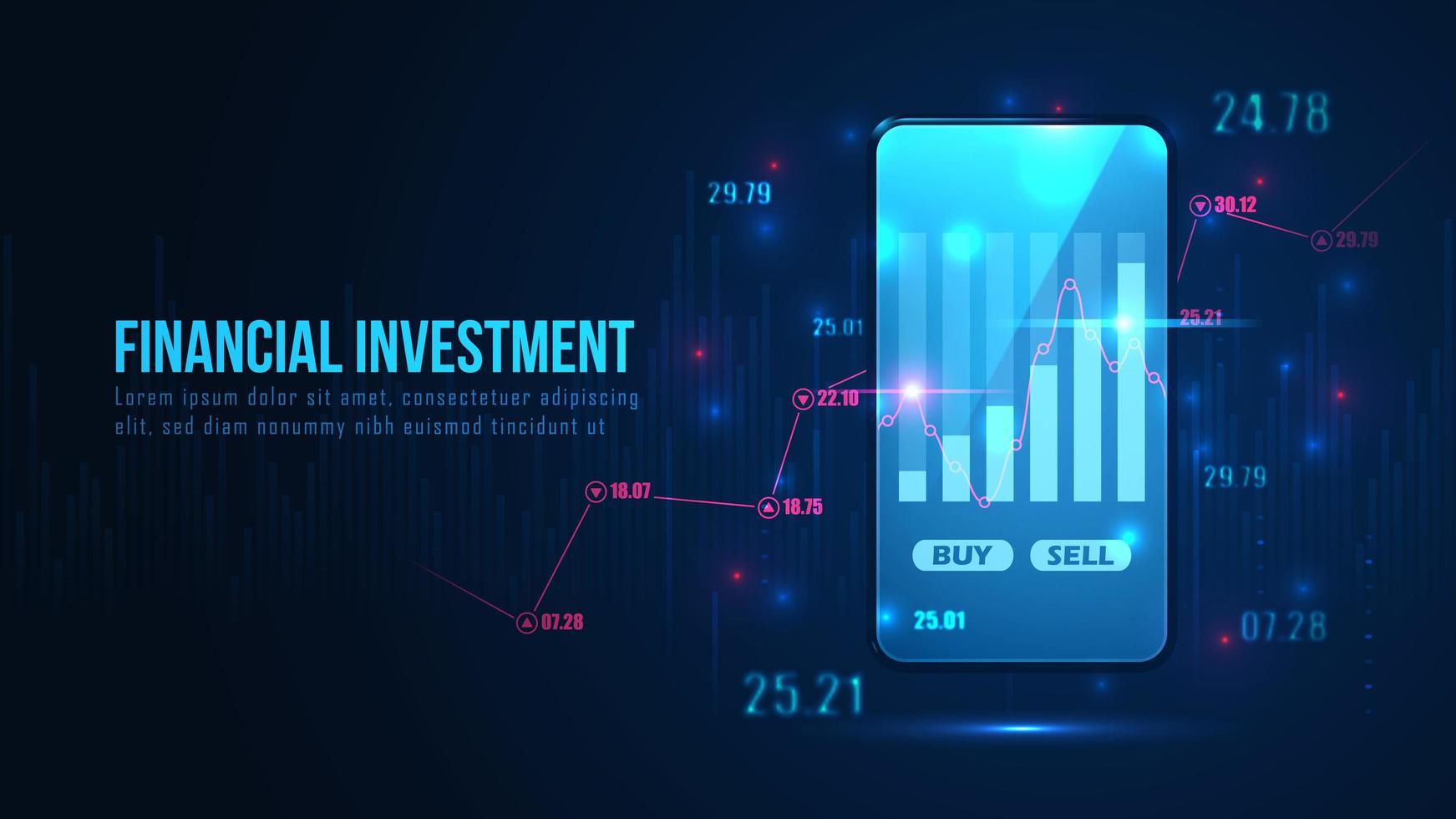 finansiell investeringsdesign med handelsdiagram på telefon vektor