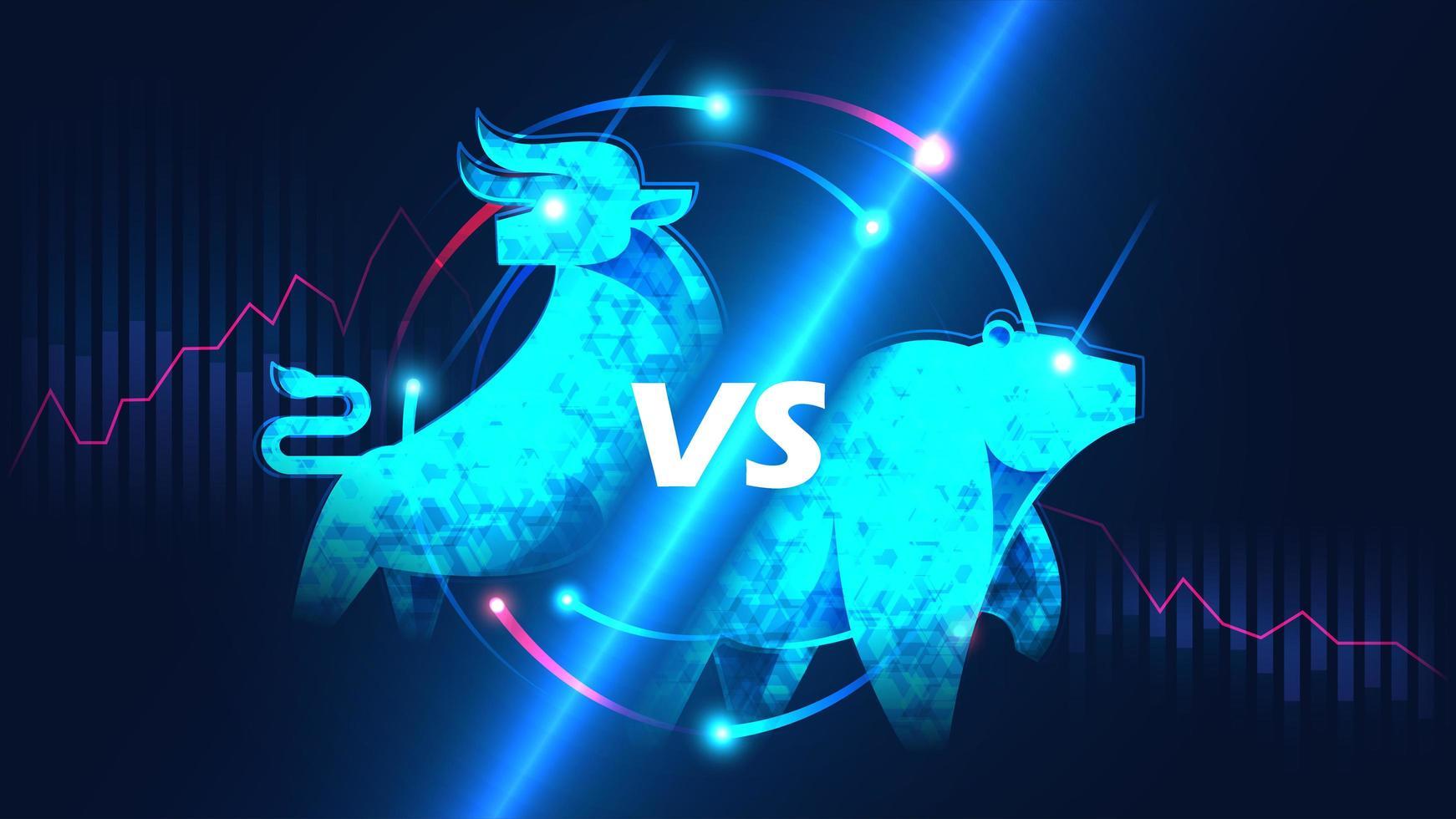 bullischer versus bärischer Aktienmarkt vektor