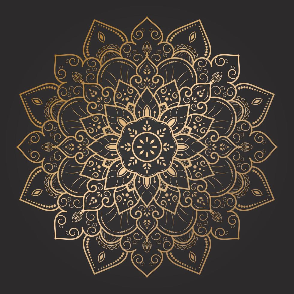 elegant blommig virvelguldmandala vektor