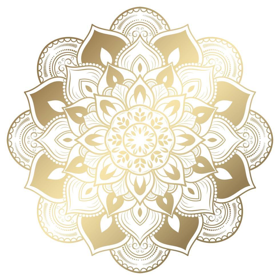 vintage gyllene lutning blommig mandala vektor