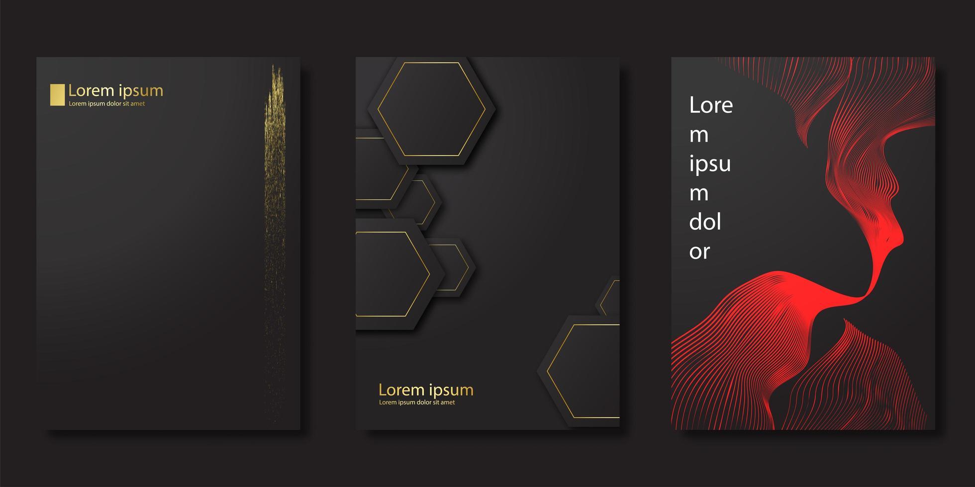 svart lyxig modern stil omslag set vektor