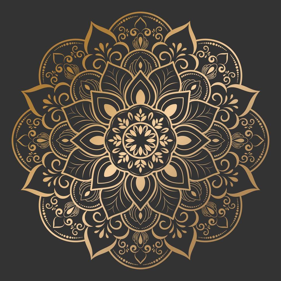 vacker guldblommamandala på svart vektor