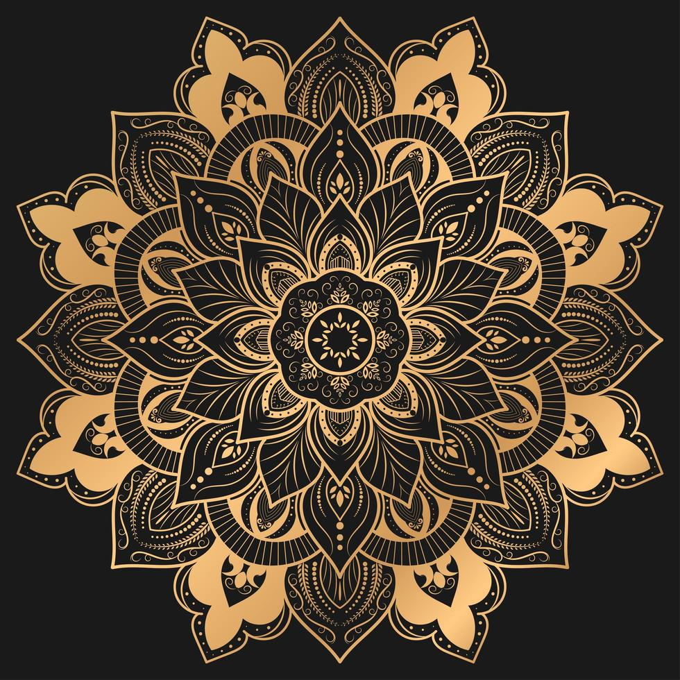 elegant mandala design i guldfärg vektor