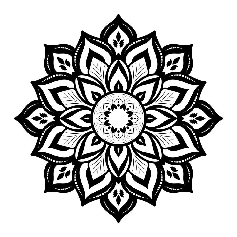 tjock svart blommig mandala på vitt vektor