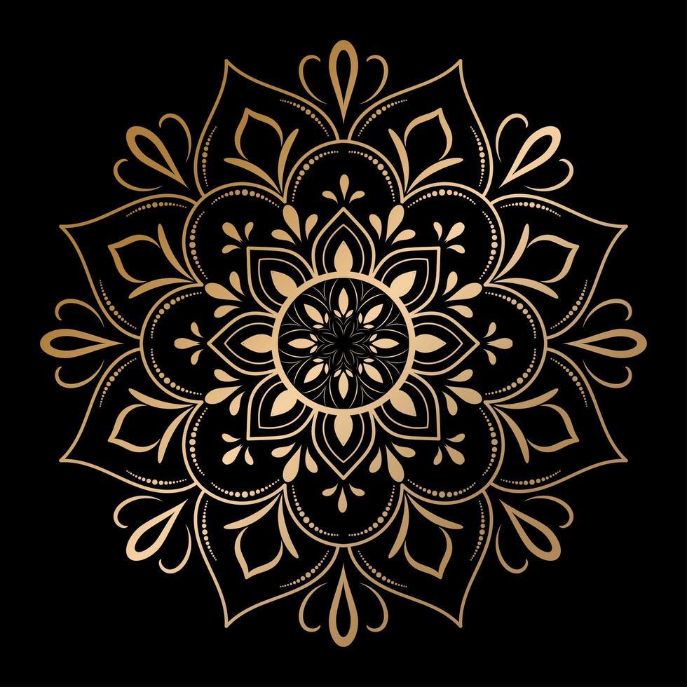 gyllene konturer blommig mandala, vektor
