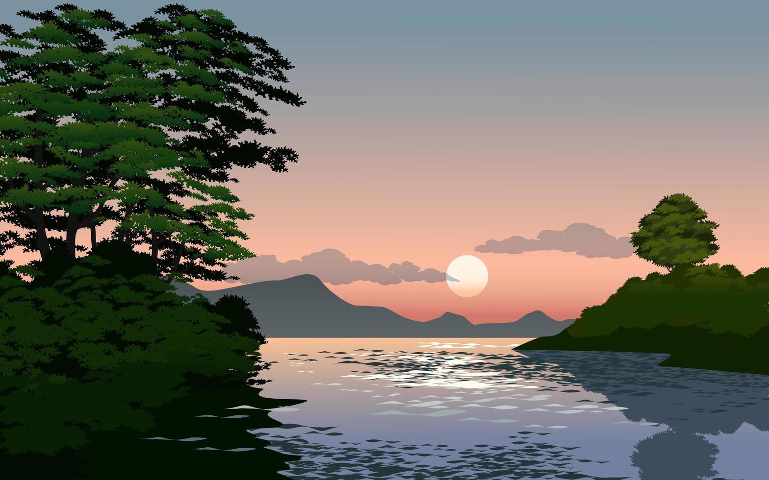 flod solnedgång landskap vektor