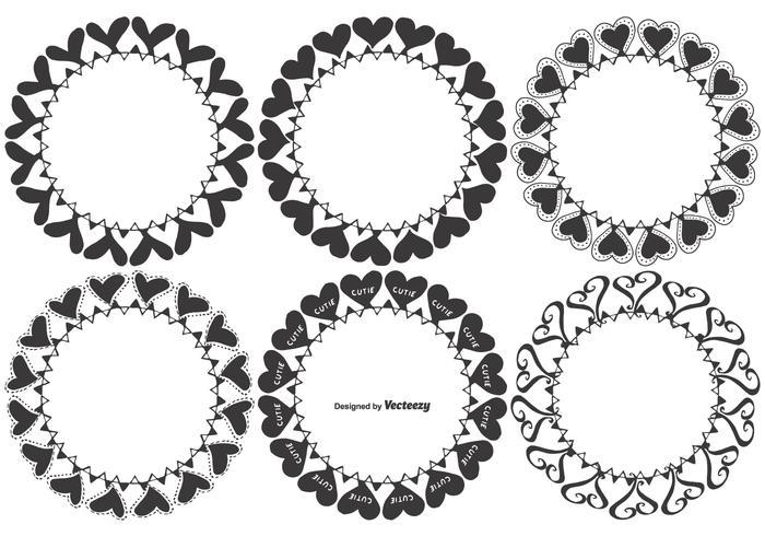 Handdragen Vector Heart Frames
