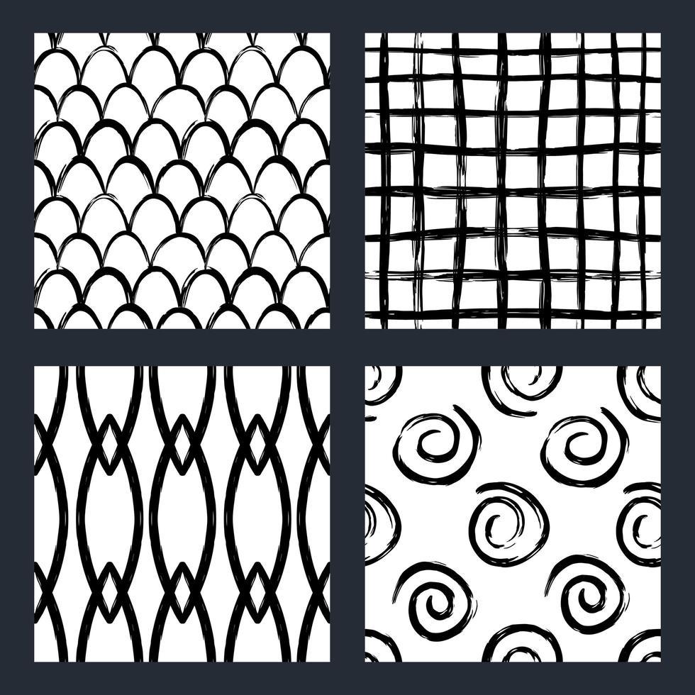 handritade penseldrag sömlösa mönster vektor