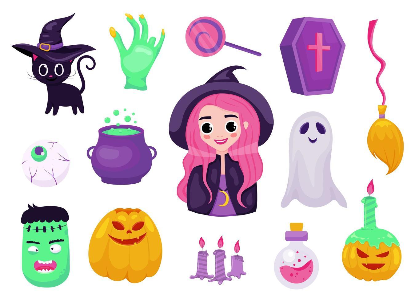 Satz von Halloween-Aufklebern, Abzeichen, Schrottbuchungselementen vektor