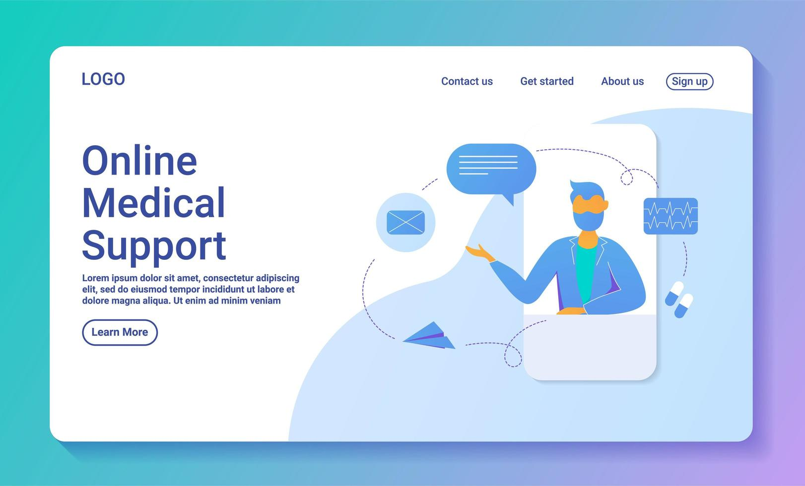 Online-Vorlage für medizinische Support-Webseiten vektor