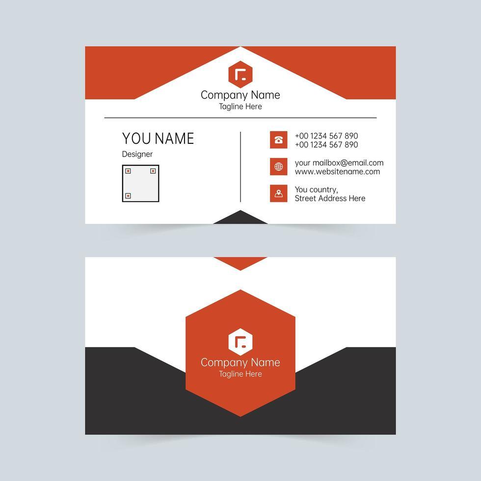 enkel röd och vit med svart företags kortmall. vektor