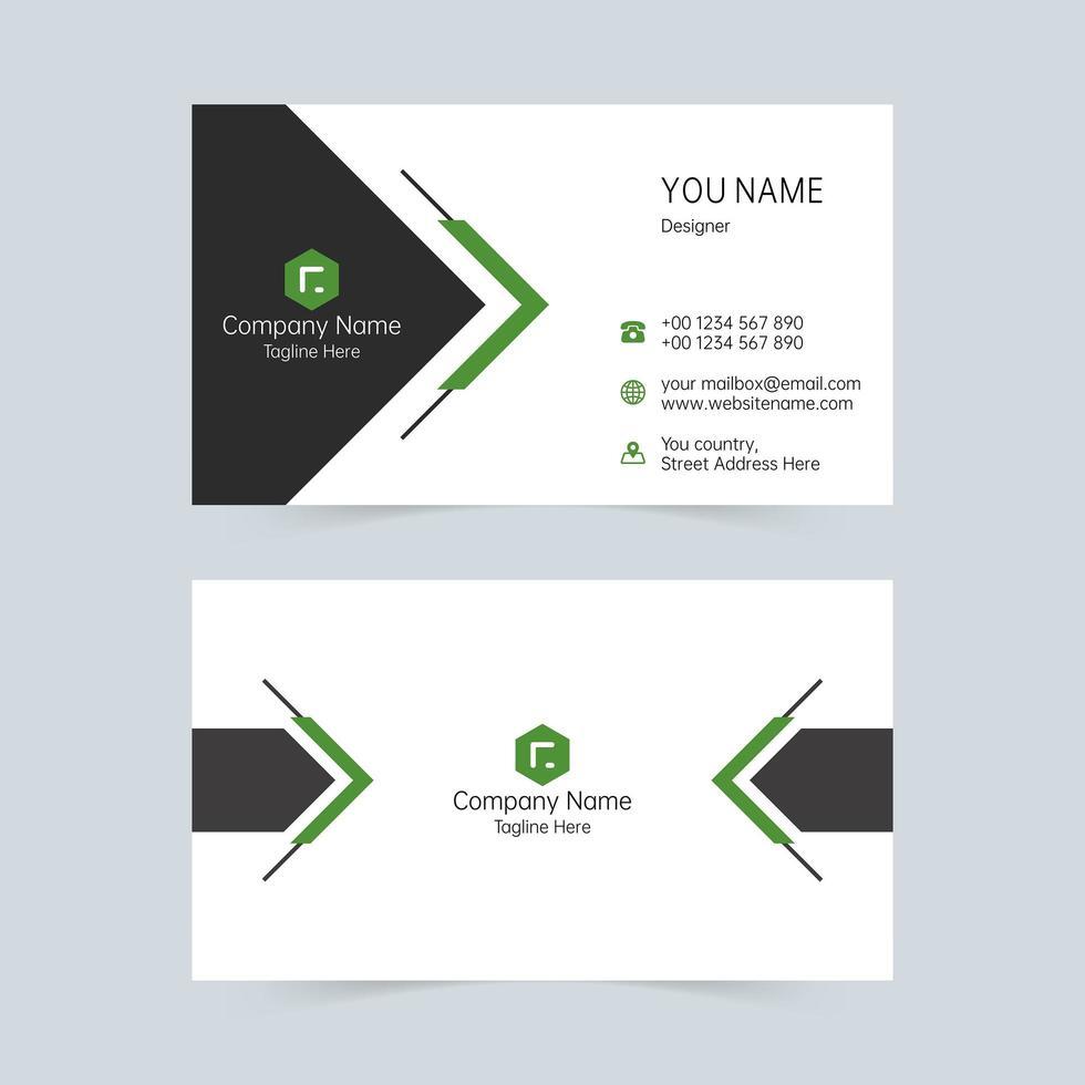 svart och grönt visitkort enkla former mall vektor