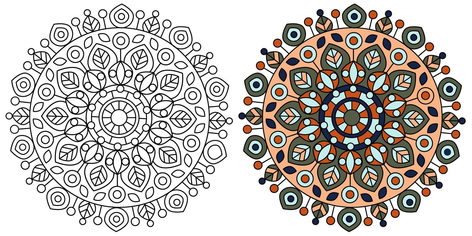 moderne Mandala Design Malvorlagen Vorlage vektor