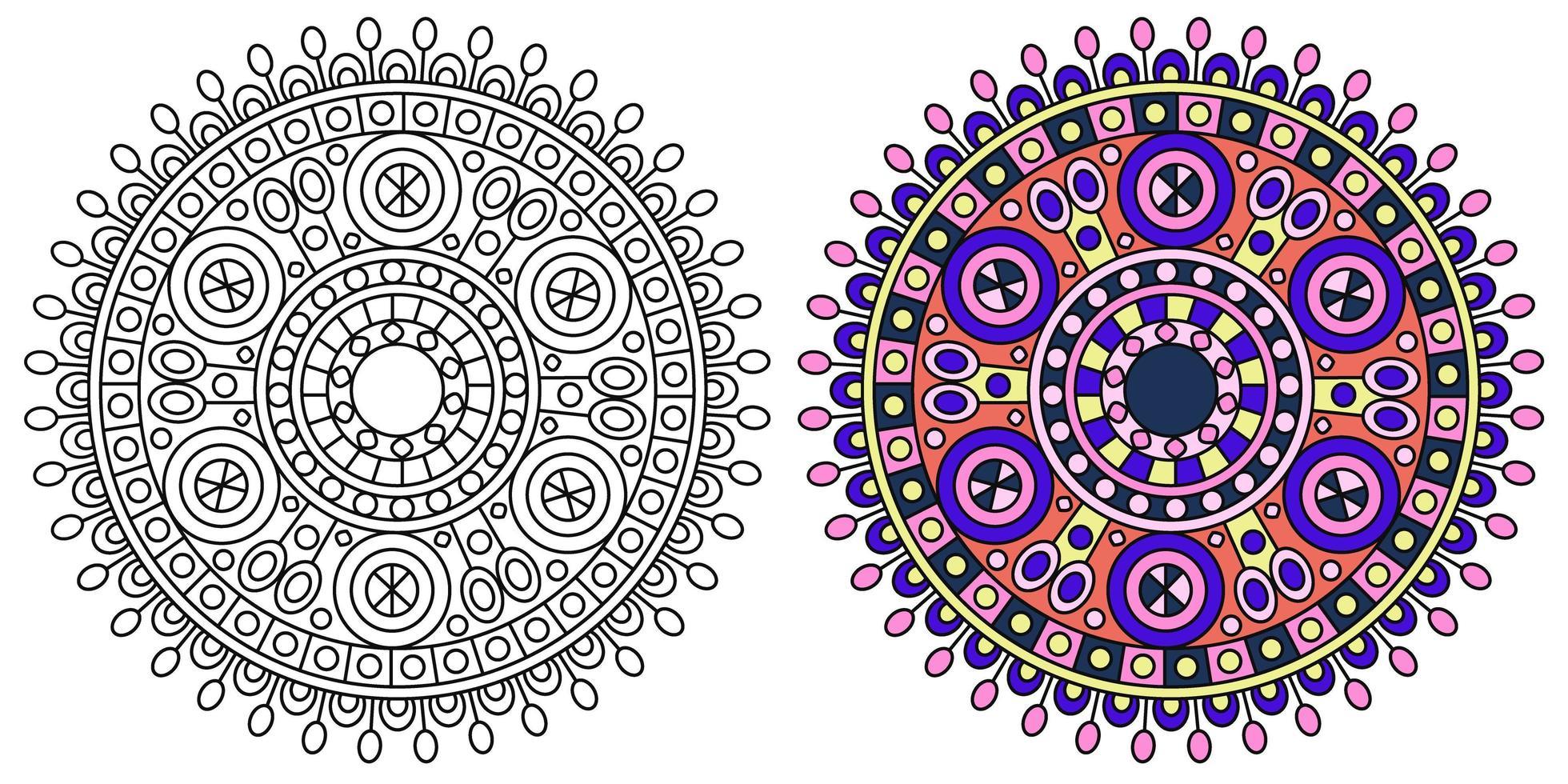 runde Mandala bunte Malvorlagen Vorlage vektor