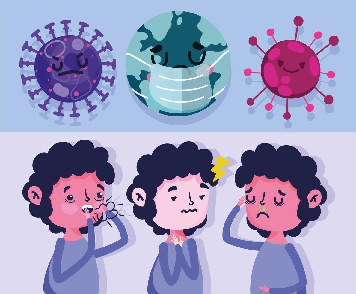 Welt mit Maske und Junge mit Symptomen vektor