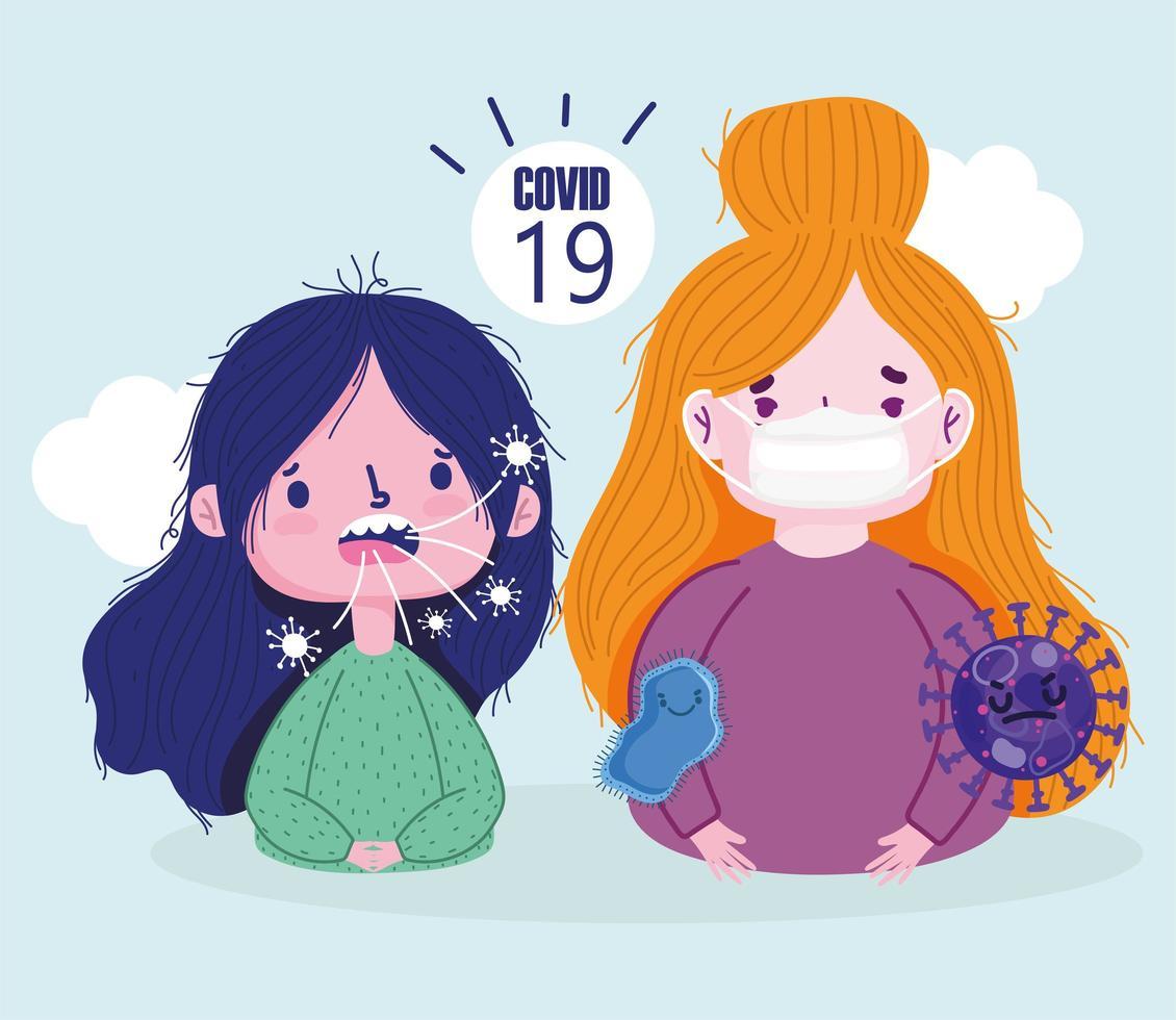 covid 19-viruspandemi med sjuka flickor som bär ansiktsmask vektor