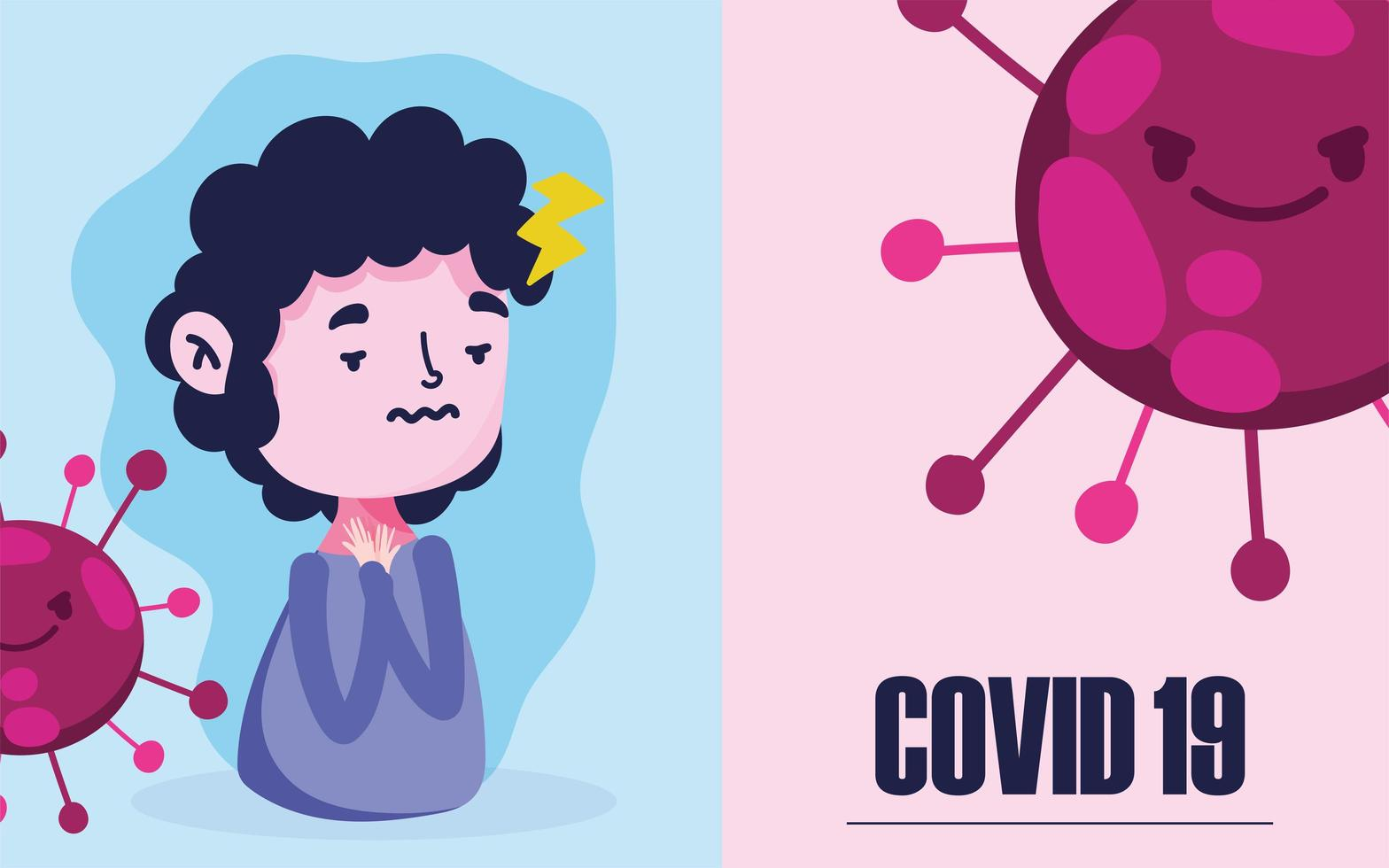 covid 19-pandemi med pojke med feber och huvudvärk vektor