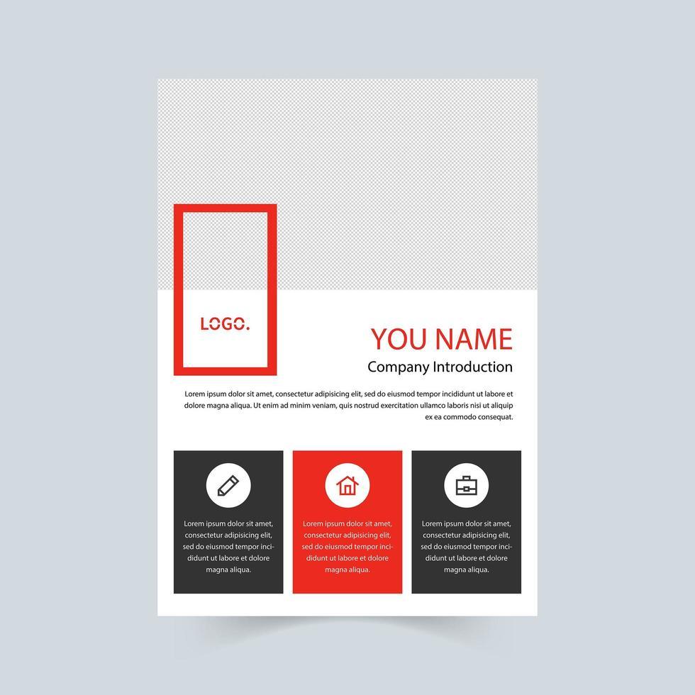 företagets broschyr i rött, svart och vitt vektor