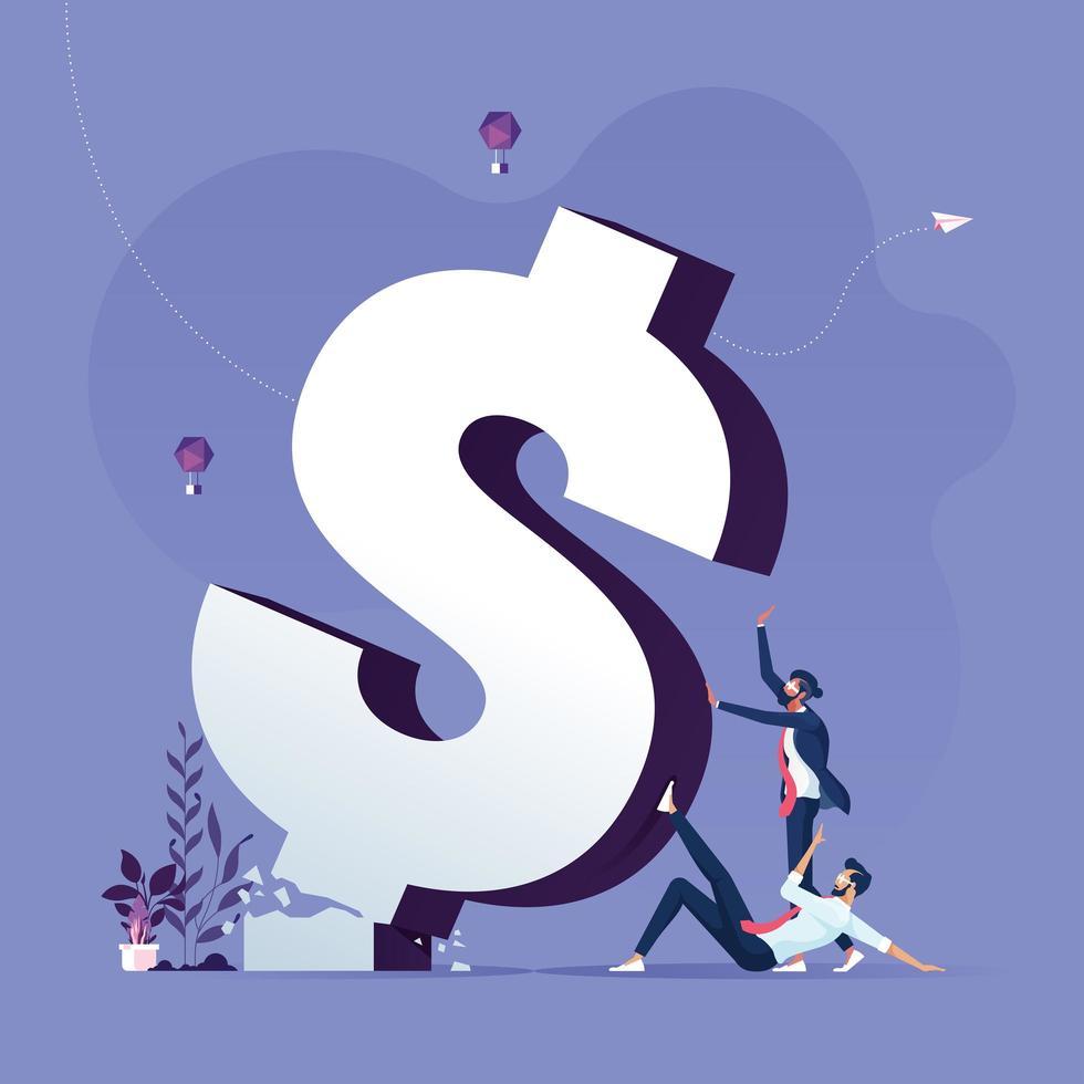 affärslag som driver fallna trasiga dollartecken vektor