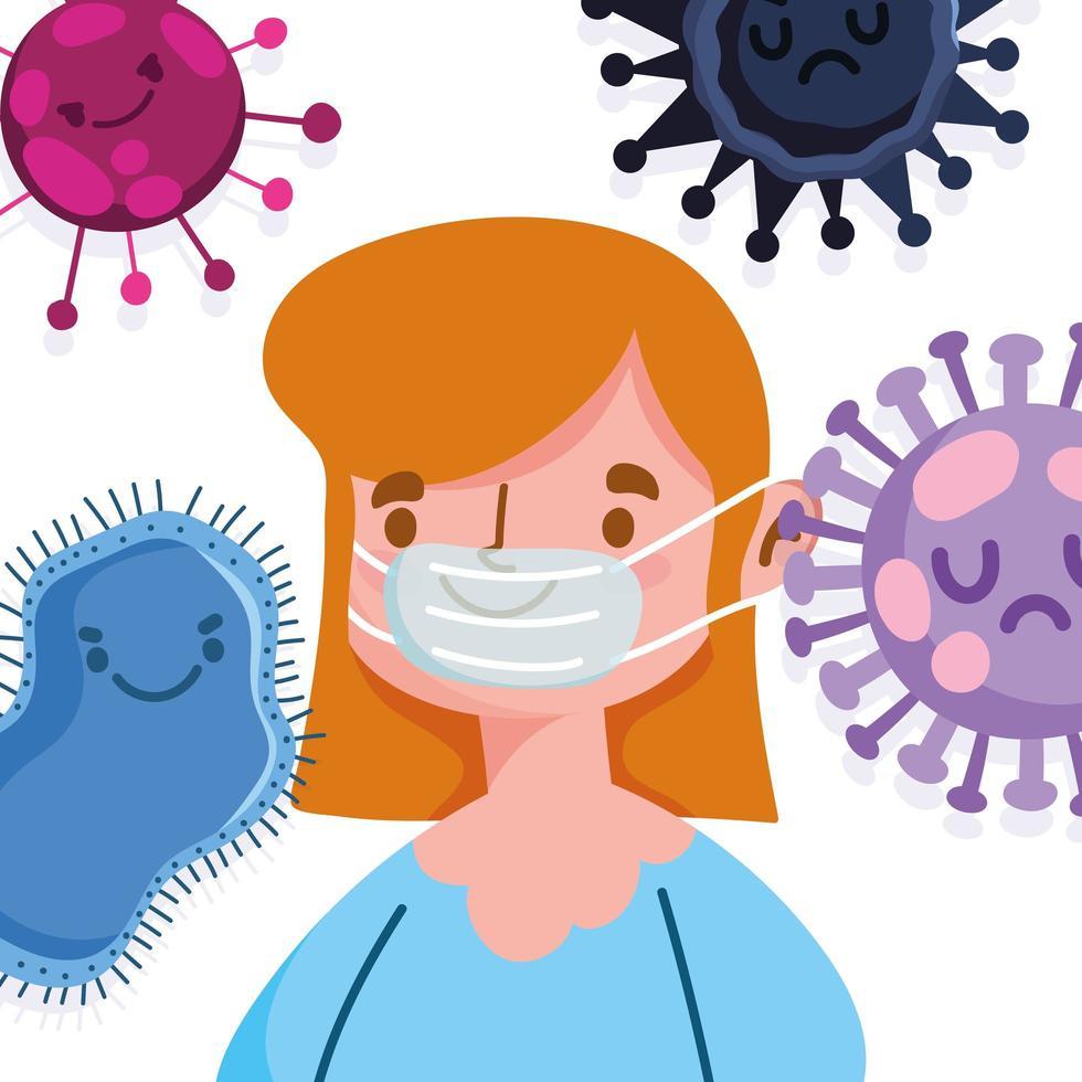 covid 19 pandemi tjej med skyddsmask vektor