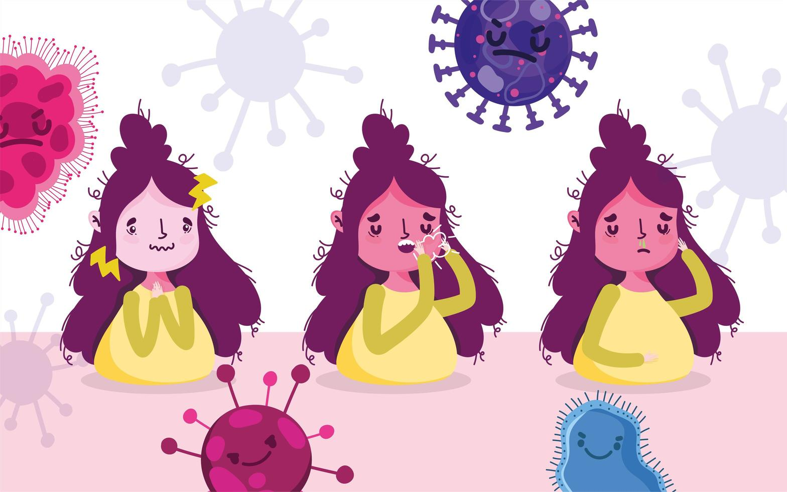 covid 19 pandemisk design med kvinnor med symtom vektor