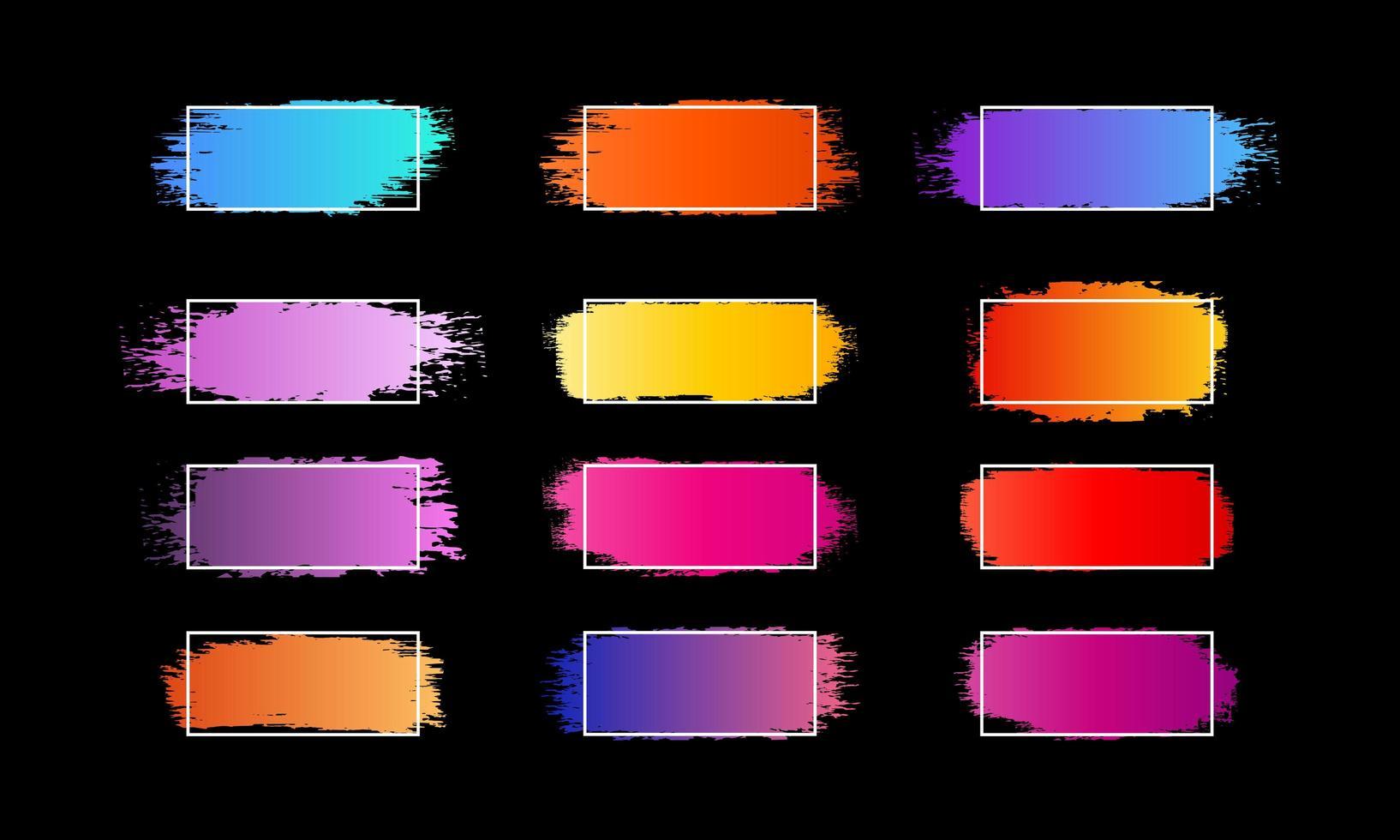 abstrakte Farbverlaufs-Pinselstriche mit weißem Rahmen vektor